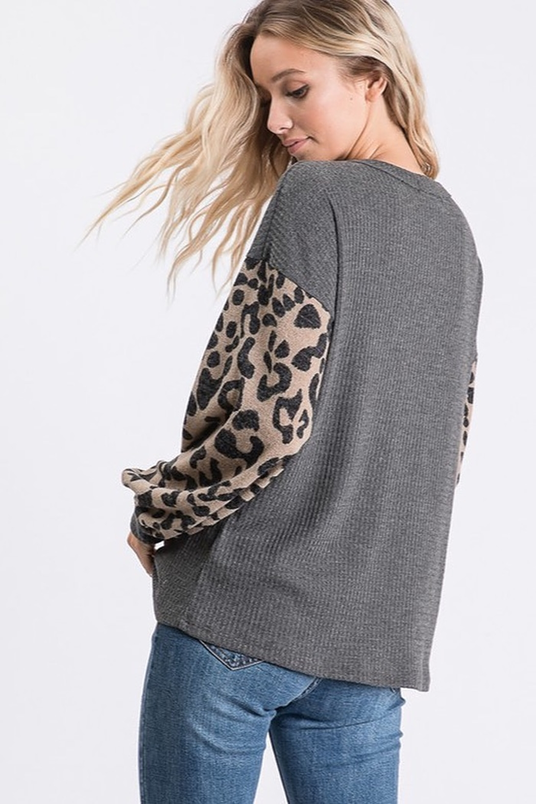 Bibi THERMAL WAFFLE TOP WITH LEOPARD PUFF SLEEVE - Front Full Image