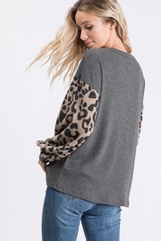 Bibi THERMAL WAFFLE TOP WITH LEOPARD PUFF SLEEVE - Front full body