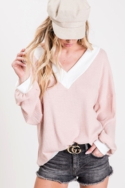 Bibi THERMAL WAFFLE V-NECK TOP - Front full body