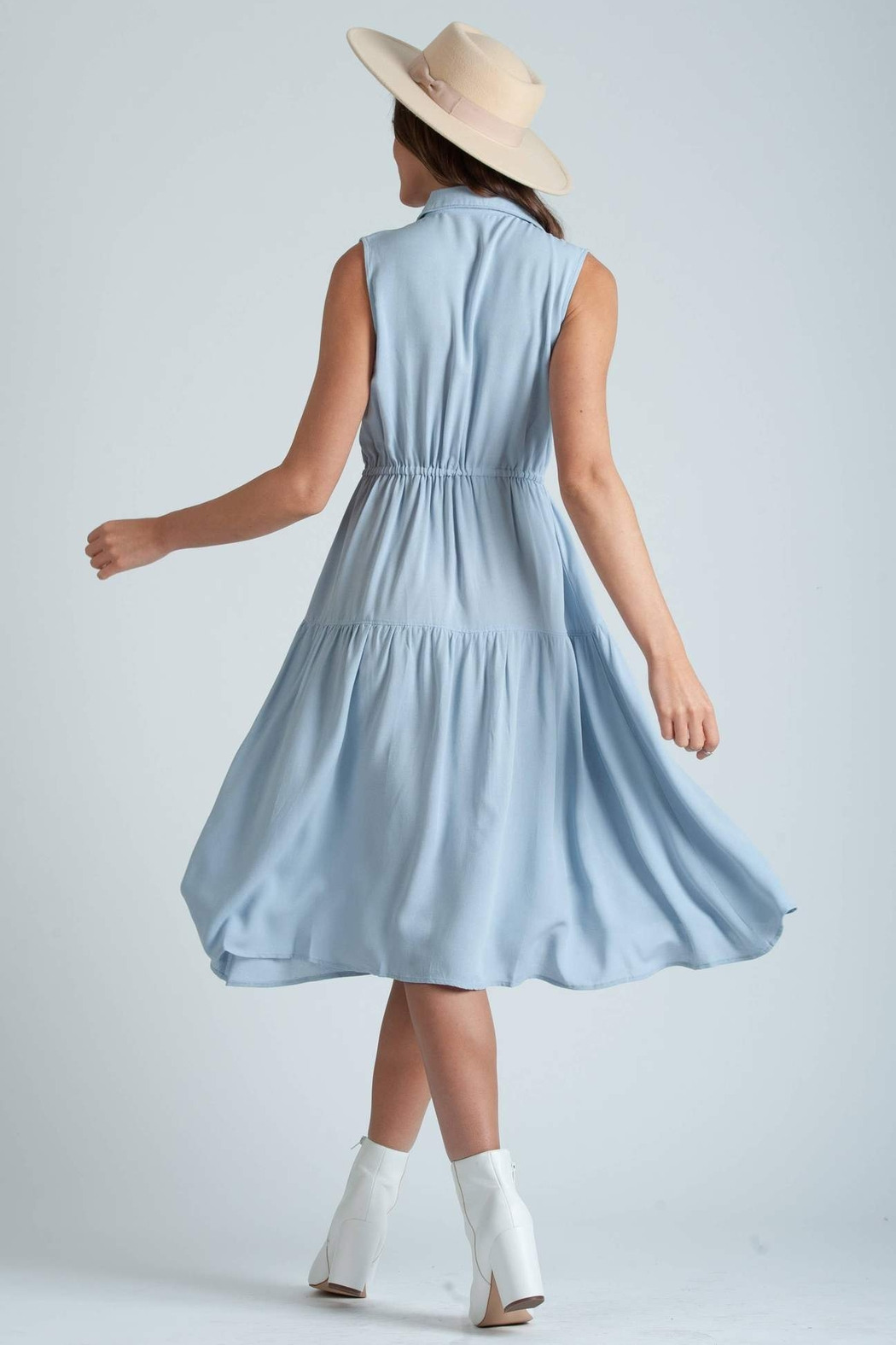 lucca couture Thetis Button Front Midi Dress - Front Full Image