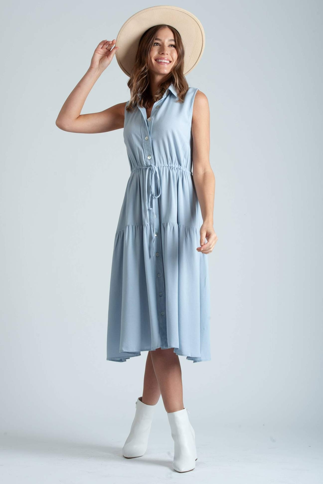 lucca couture Thetis Button Front Midi Dress - Main Image