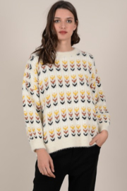 Molly Bracken Thick Arrow French Knit Oversize Pullover - Front cropped