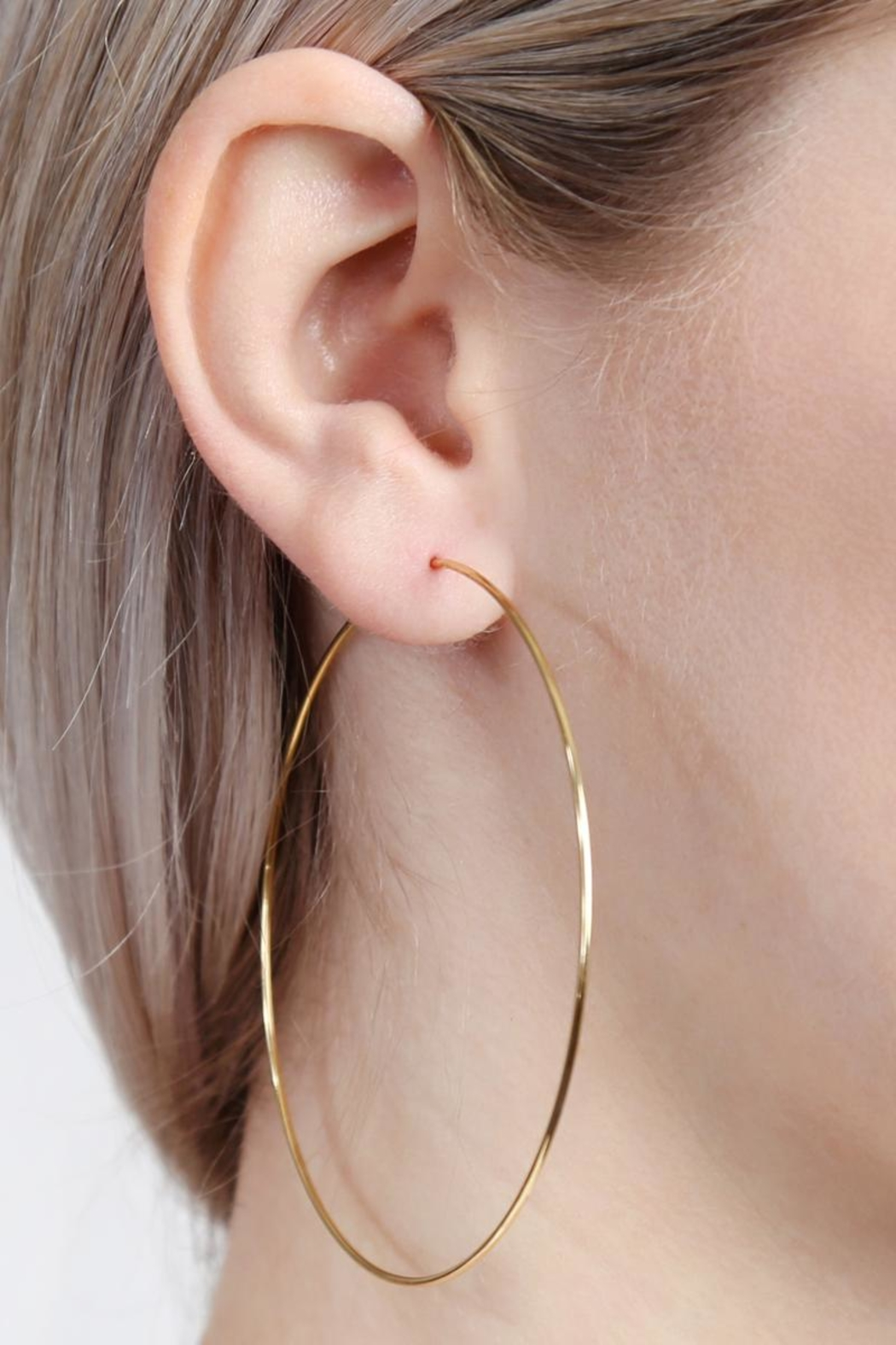 Riah Fashion Thin Endless-Large Loop-Earrings - Front Full Image
