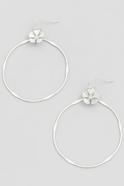 Fame Accessories Thin Floral Hoop Earrings - Product Mini Image