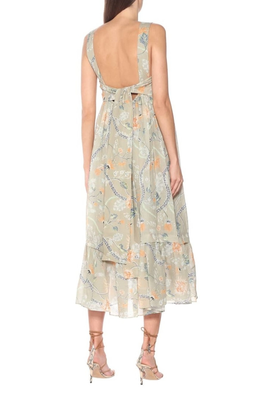 Chloe Thin Strap Low Back Floral Maxi Dress - Front Full Image