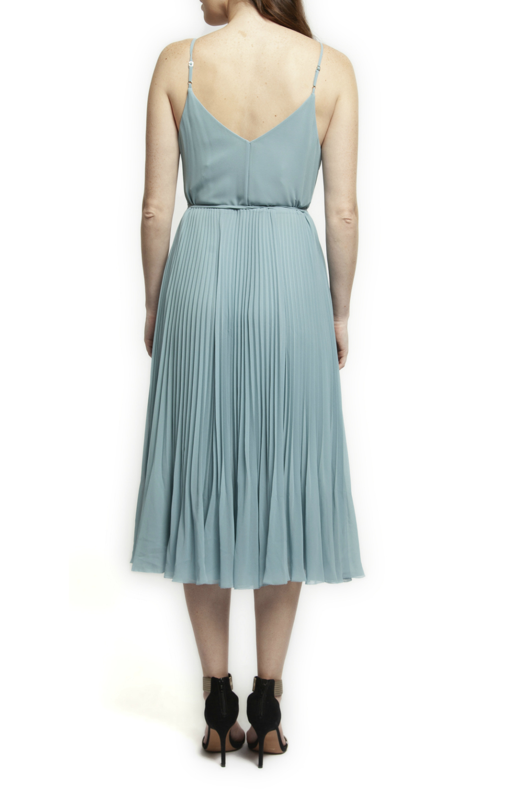 Black Tape/Dex Thin Strap Pleated Dress - Front Full Image