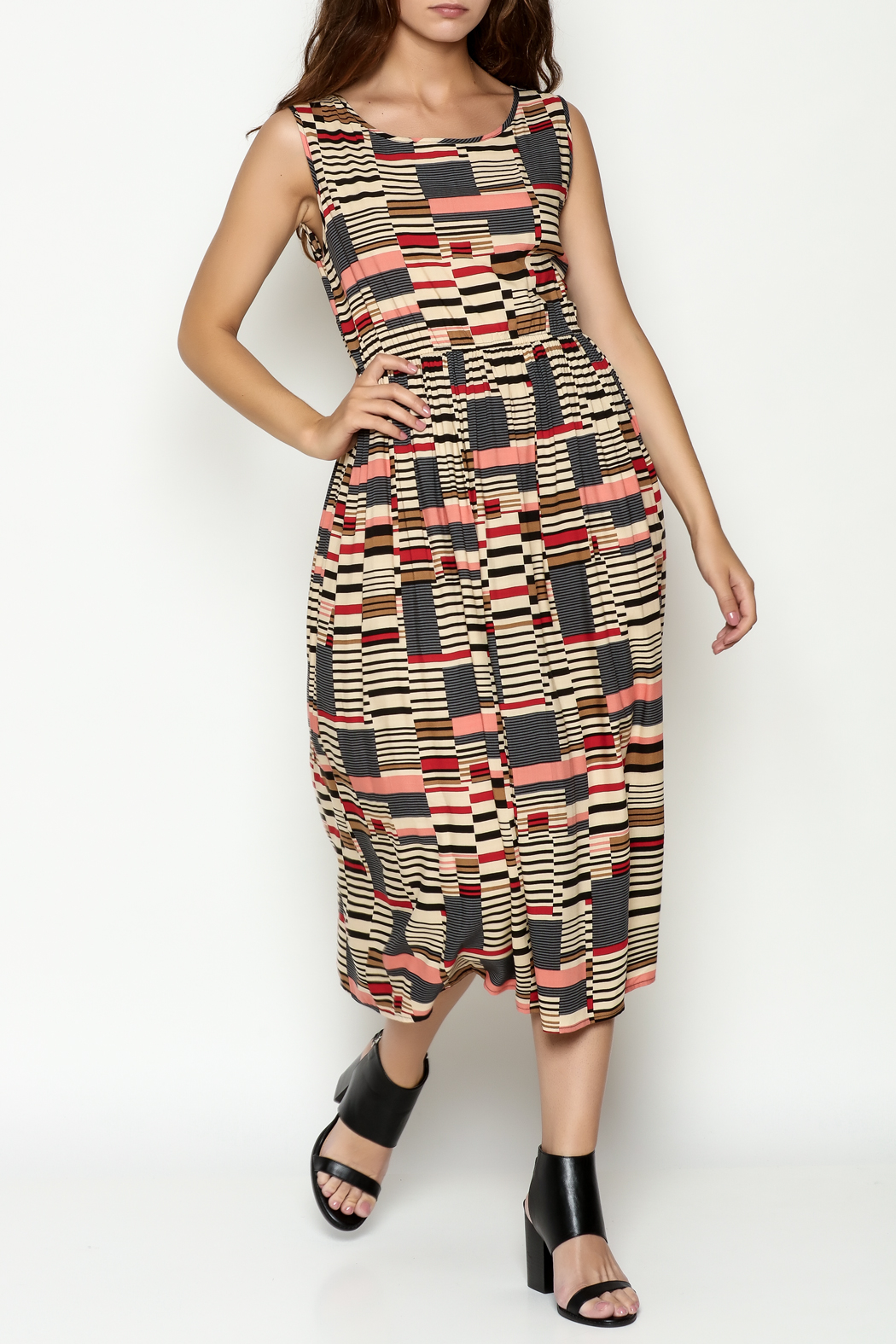 THINK CLOSET Abstract Maxi Dress - Front Cropped Image