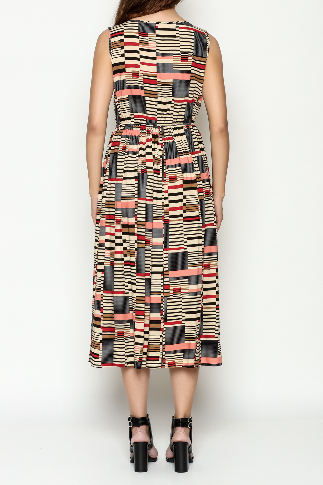 THINK CLOSET Abstract Maxi Dress - Back Cropped Image