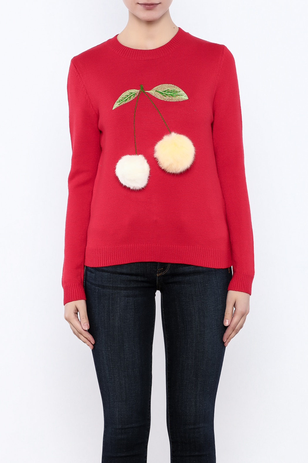 THINK CLOSET Cherry-POM sweater - Side Cropped Image