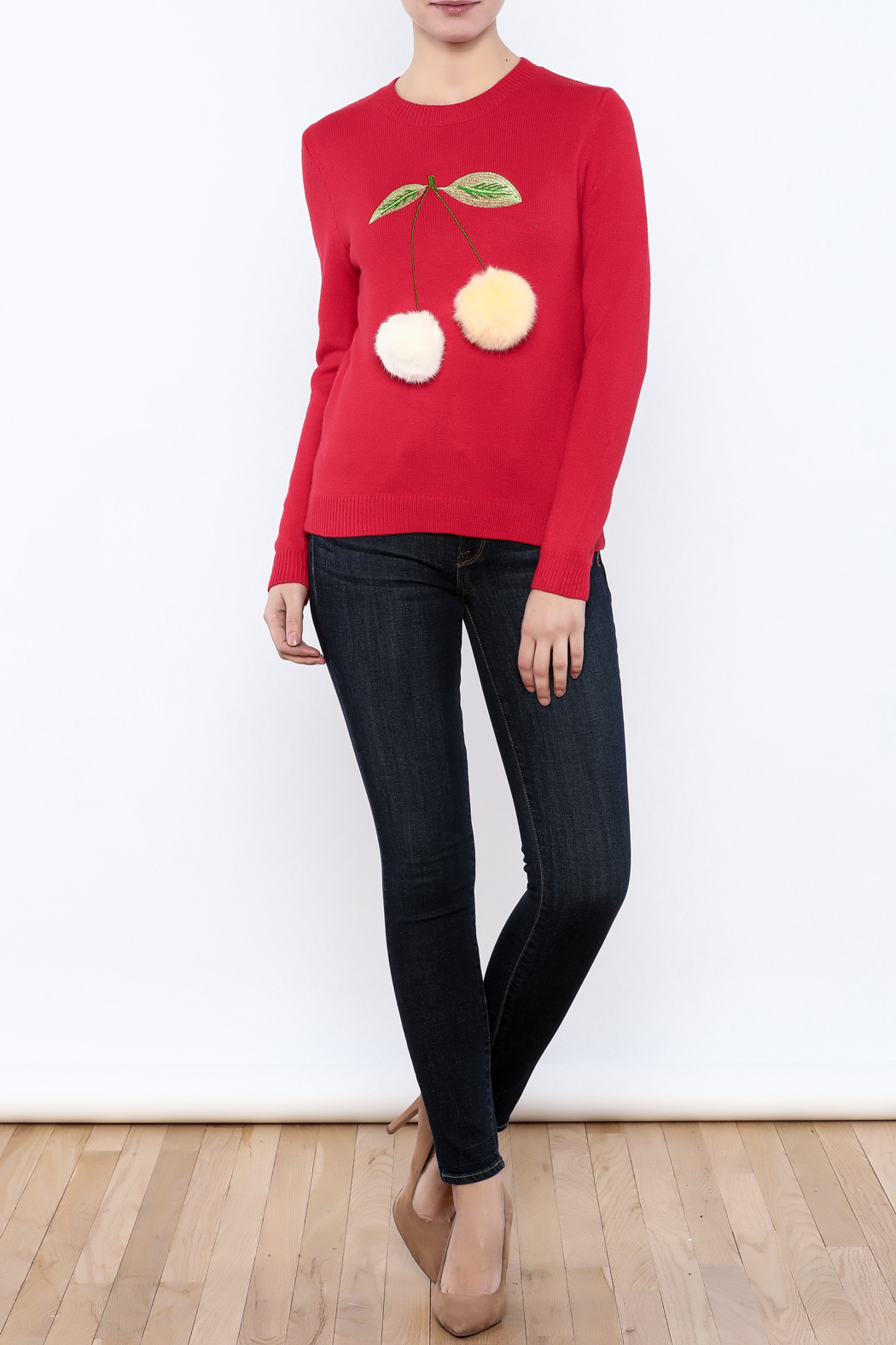 THINK CLOSET Cherry-POM sweater - Front Full Image