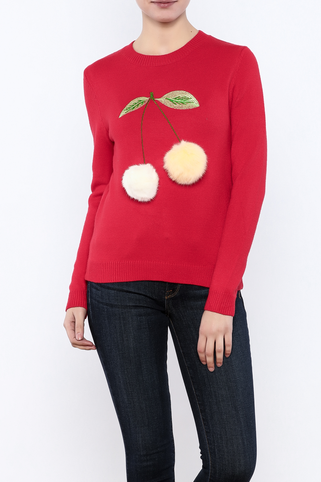 THINK CLOSET Cherry-POM sweater - Front Cropped Image