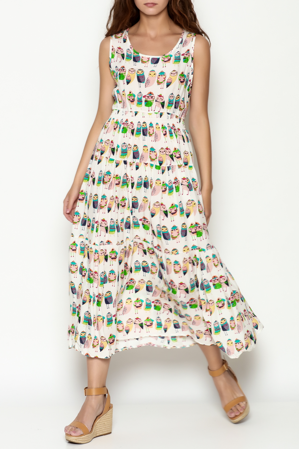 THINK CLOSET Colorful Owl Dress - Front Cropped Image