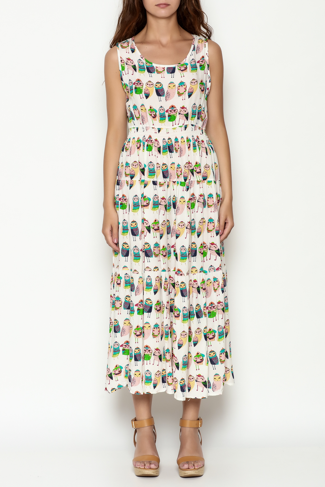THINK CLOSET Colorful Owl Dress - Front Full Image