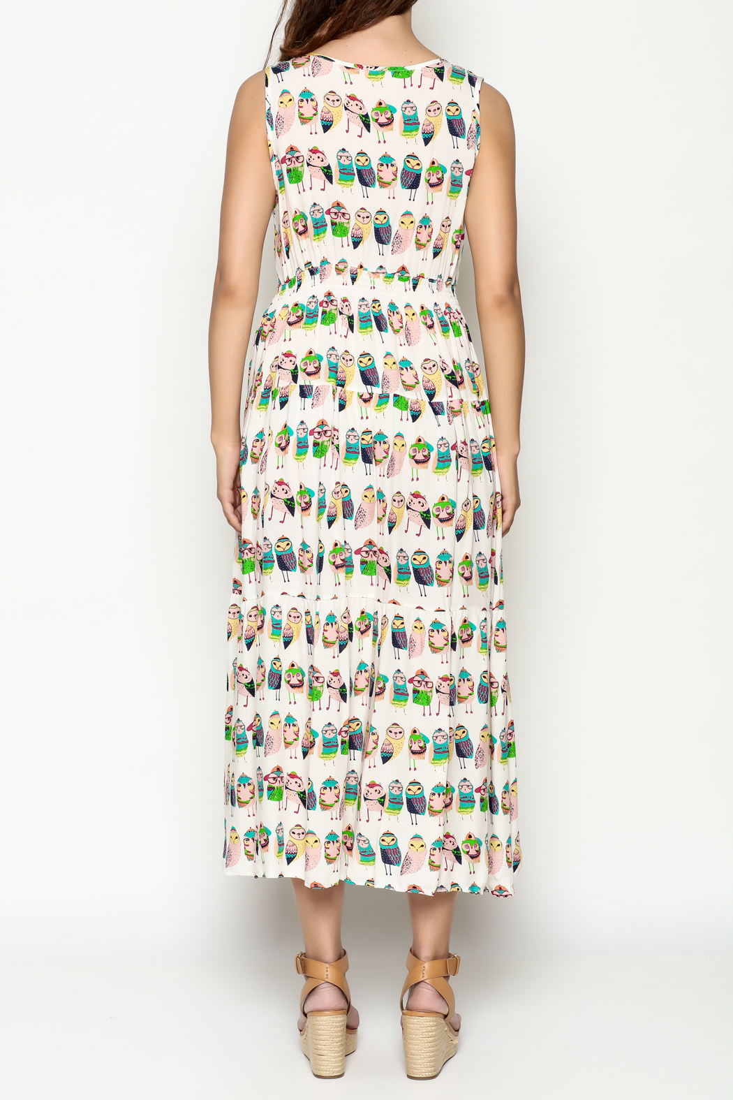 THINK CLOSET Colorful Owl Dress - Back Cropped Image