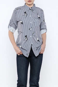 Shoptiques Product: Elegant Bird Stripe Top