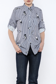 THINK CLOSET Elegant Bird Stripe Top - Product Mini Image
