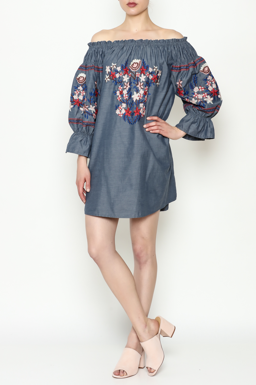THINK CLOSET Embroidery Dress - Side Cropped Image