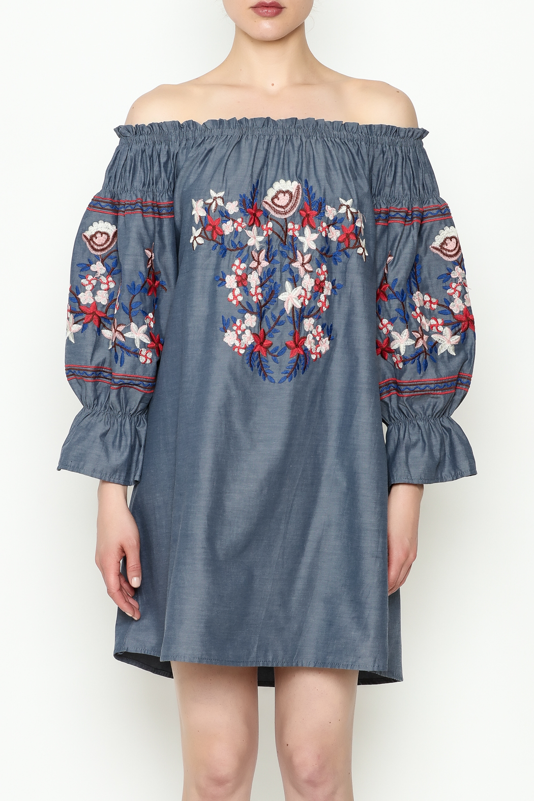 THINK CLOSET Embroidery Dress - Front Full Image