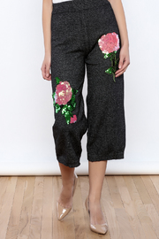 THINK CLOSET Floral Sequined Pants - Product Mini Image