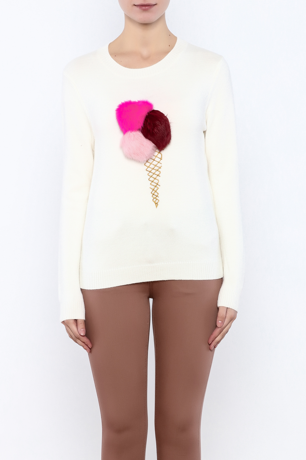 THINK CLOSET Ice Cream-Pom Sweater - Side Cropped Image
