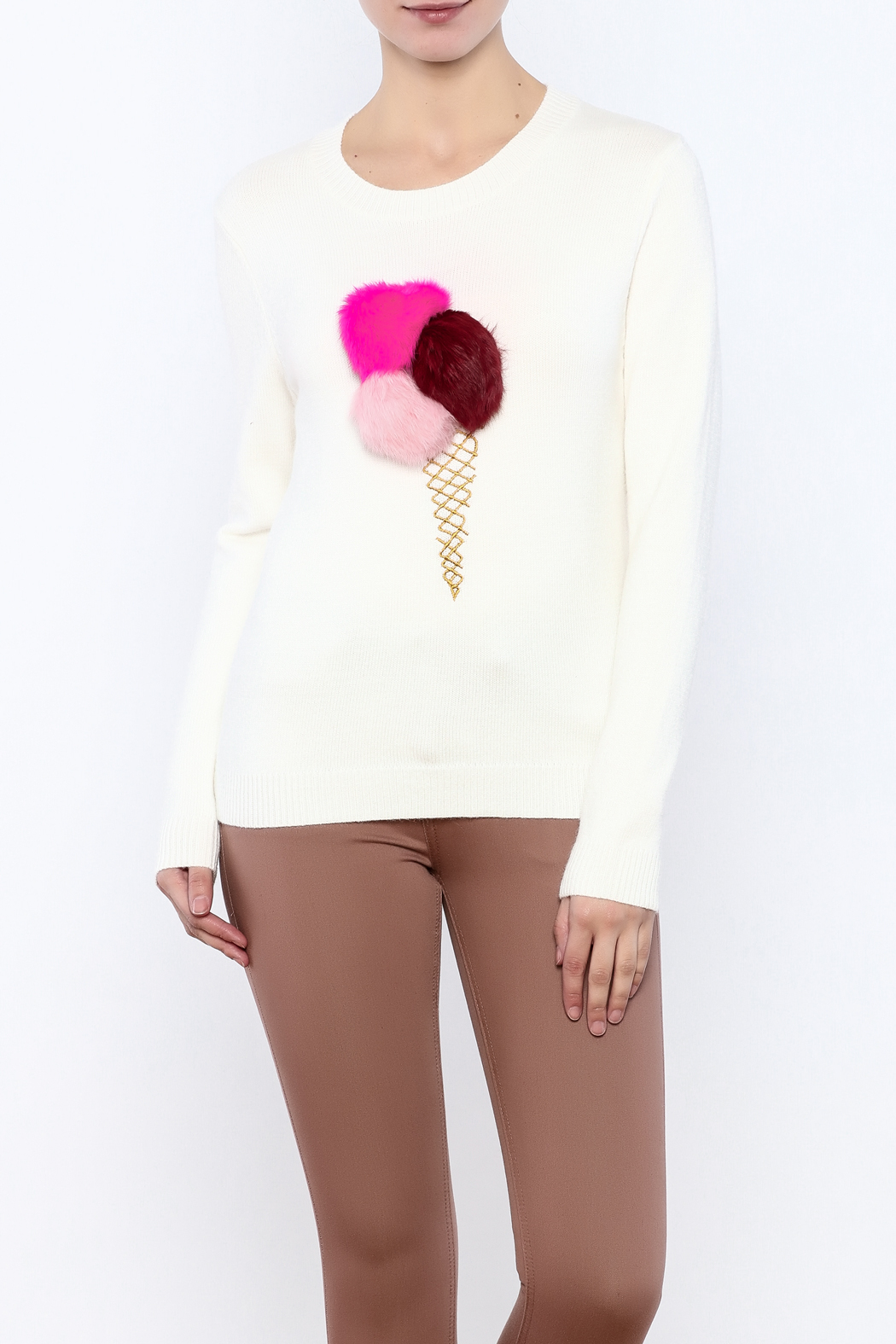 THINK CLOSET Ice Cream-Pom Sweater - Main Image
