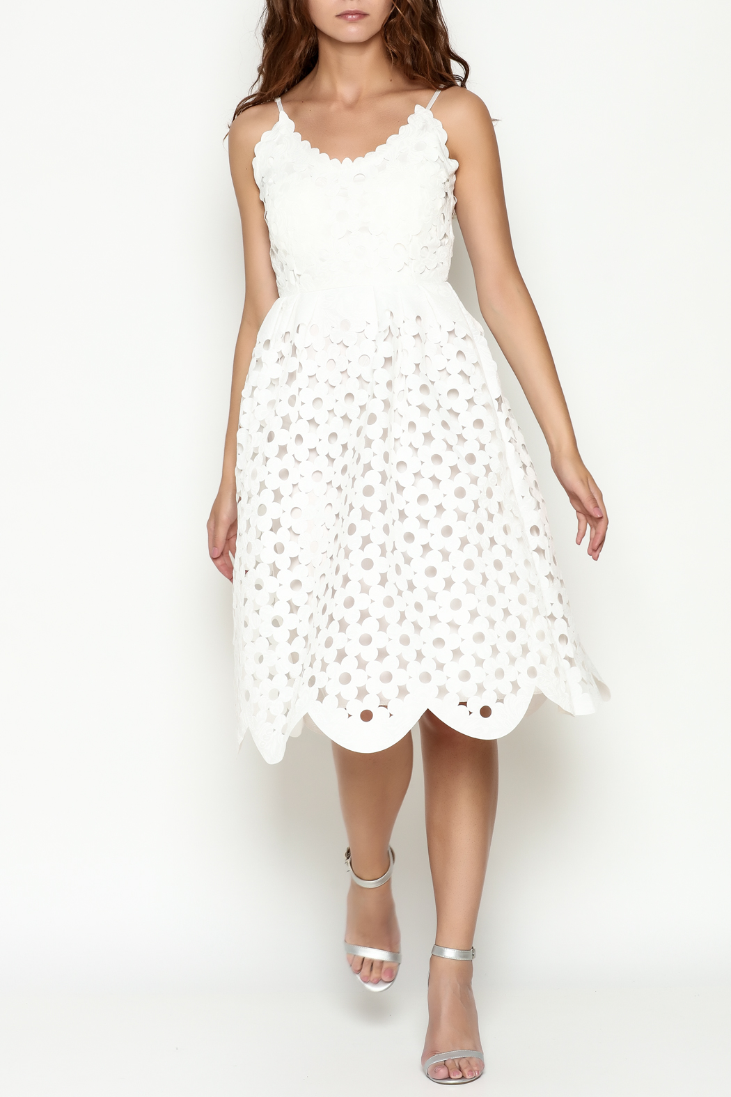 THINK CLOSET Lazer Cut Floral Dress - Front Cropped Image