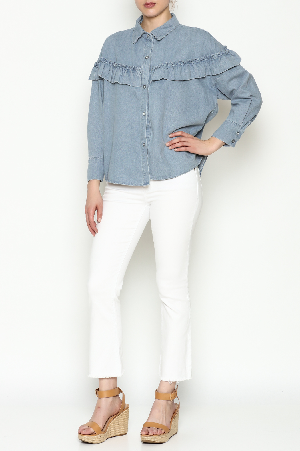 THINK CLOSET Light Denim Frill Top - Side Cropped Image