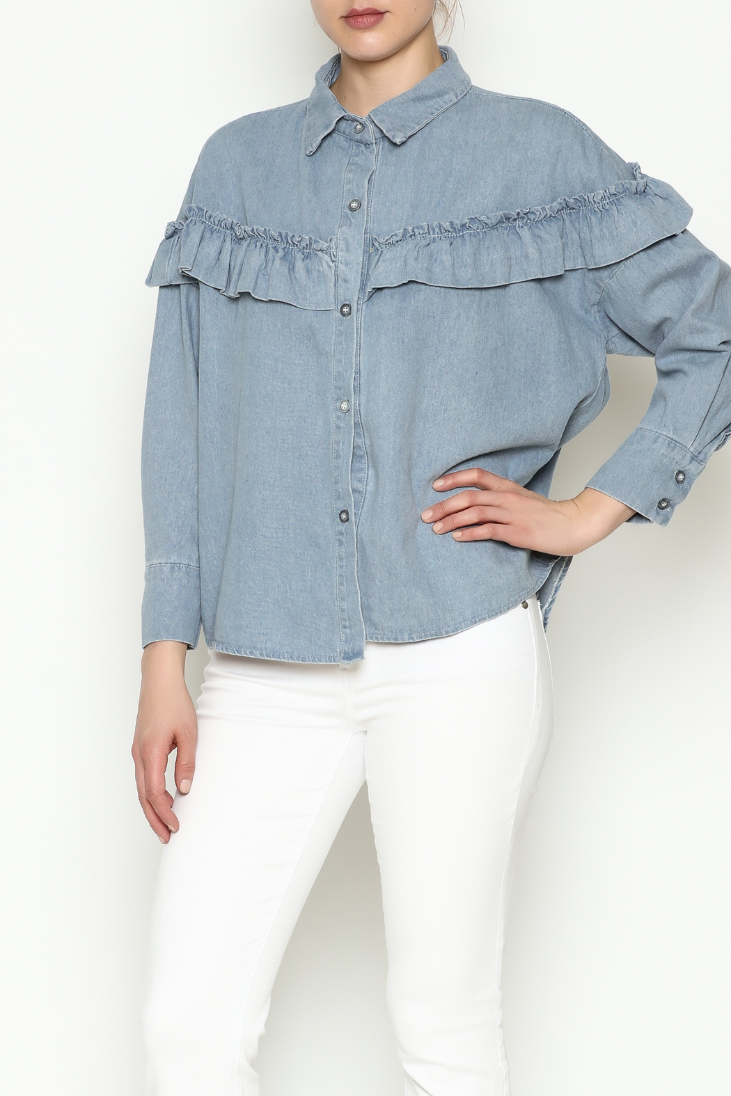 THINK CLOSET Light Denim Frill Top - Front Cropped Image