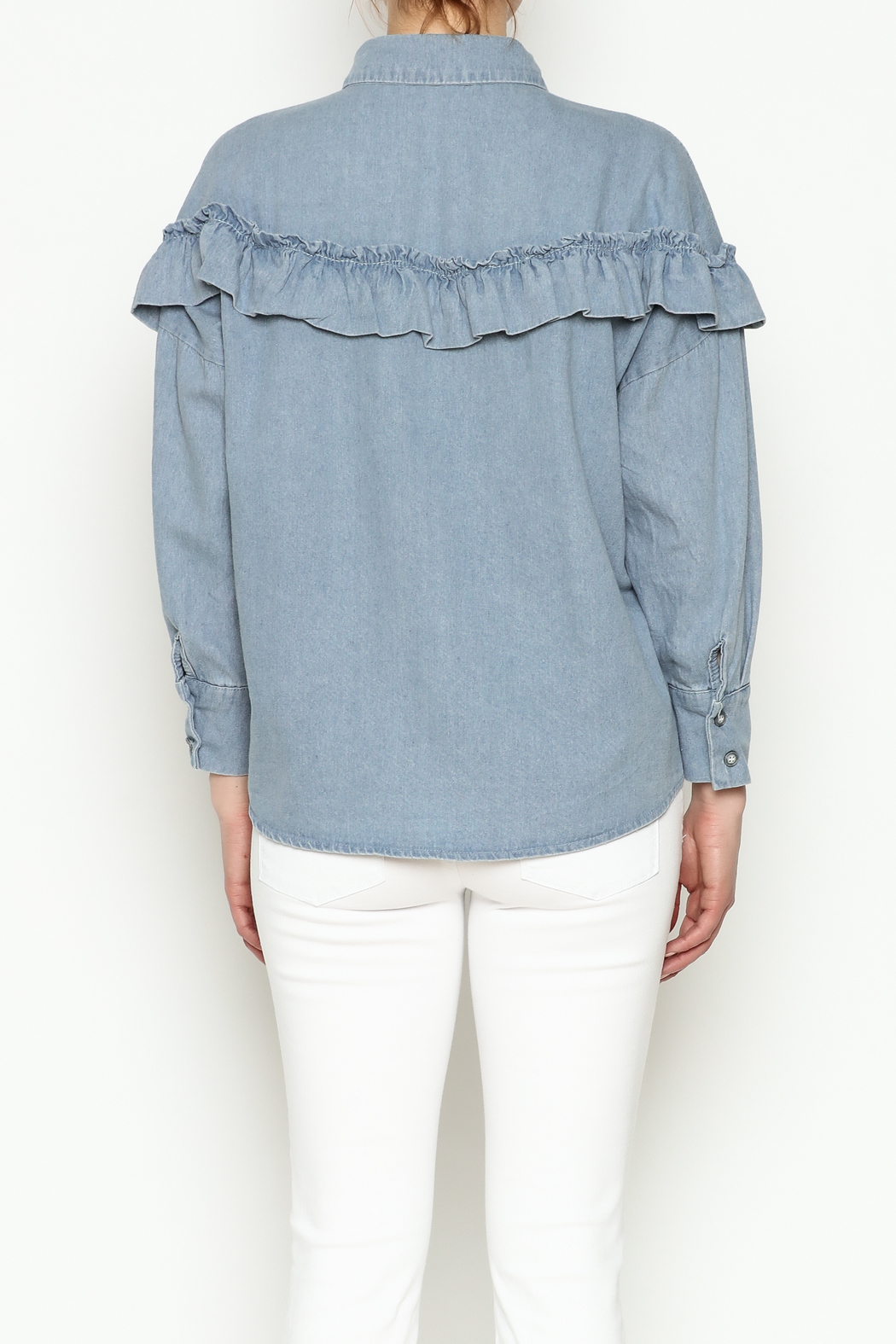 THINK CLOSET Light Denim Frill Top - Back Cropped Image