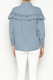 THINK CLOSET Light Denim Frill Top - Back cropped