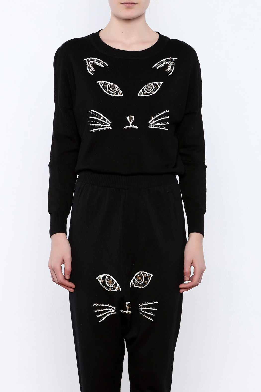 THINK CLOSET Meow-Face Sweater - Side Cropped Image