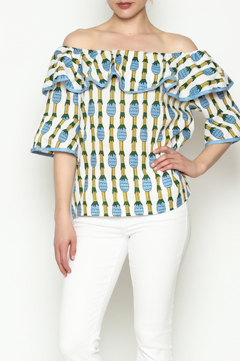 THINK CLOSET Pineapple Off Shoulder Top - Main Image