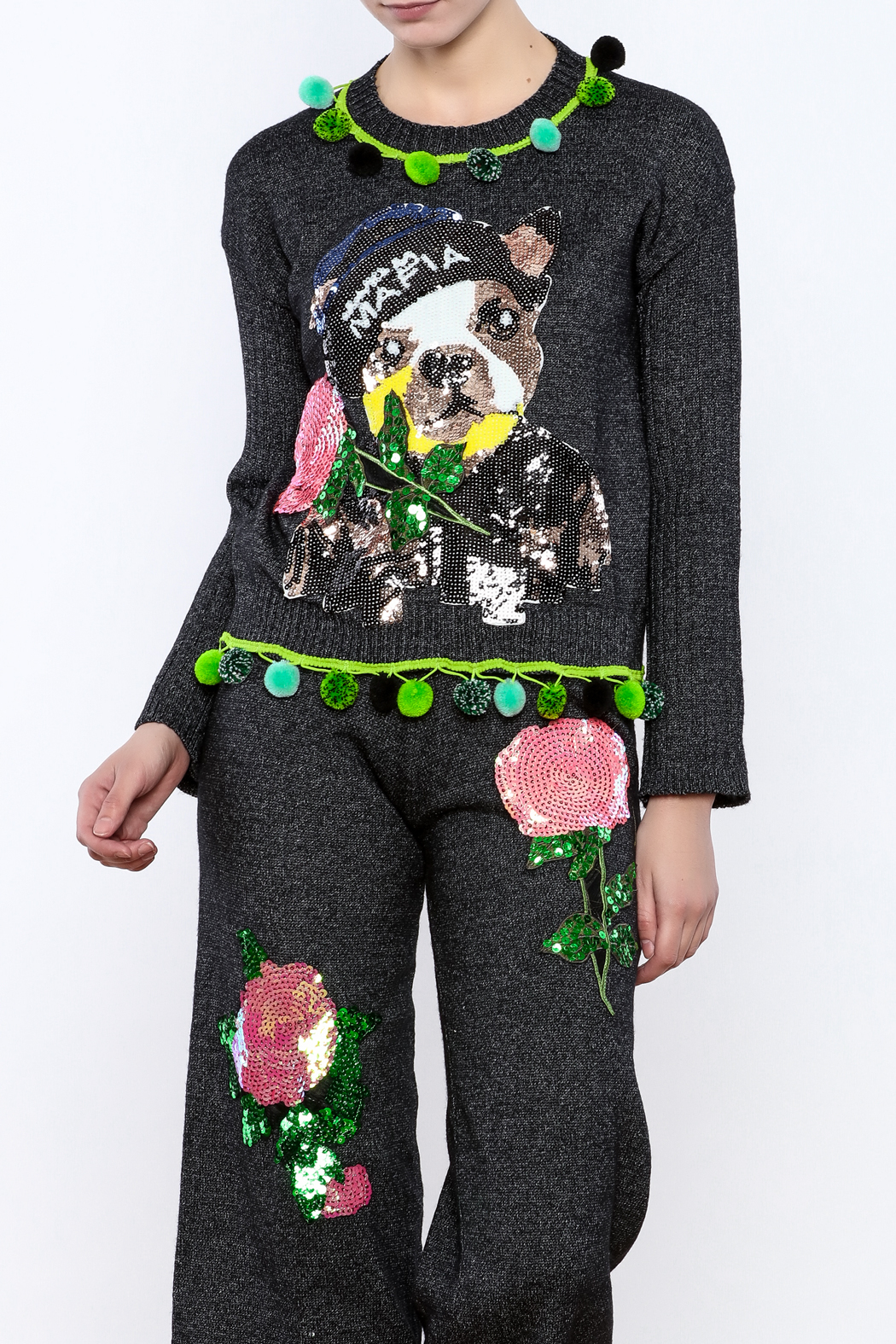 THINK CLOSET Sequined Pup Sweater - Main Image