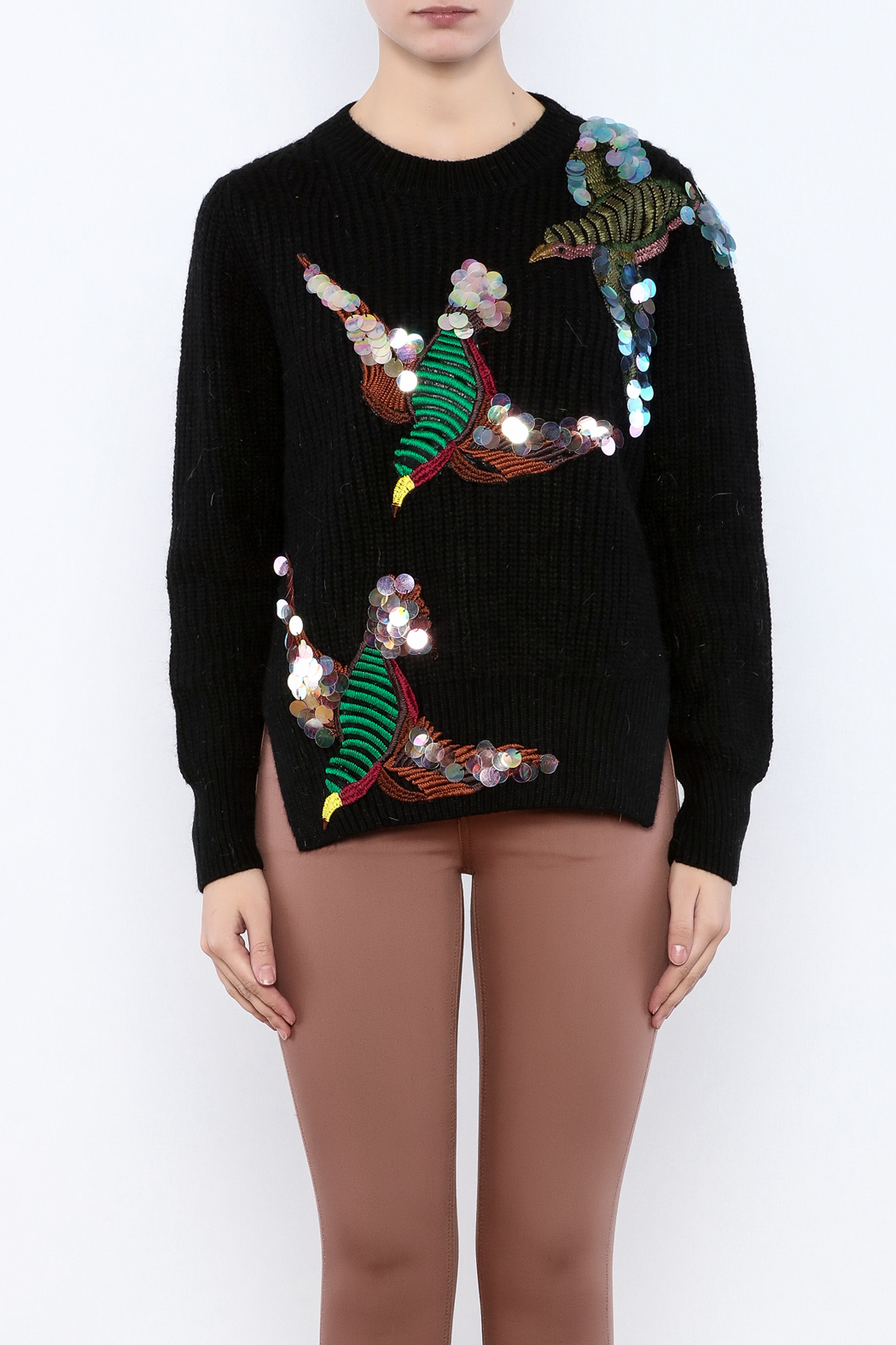 THINK CLOSET Sequined Starling Sweater - Side Cropped Image