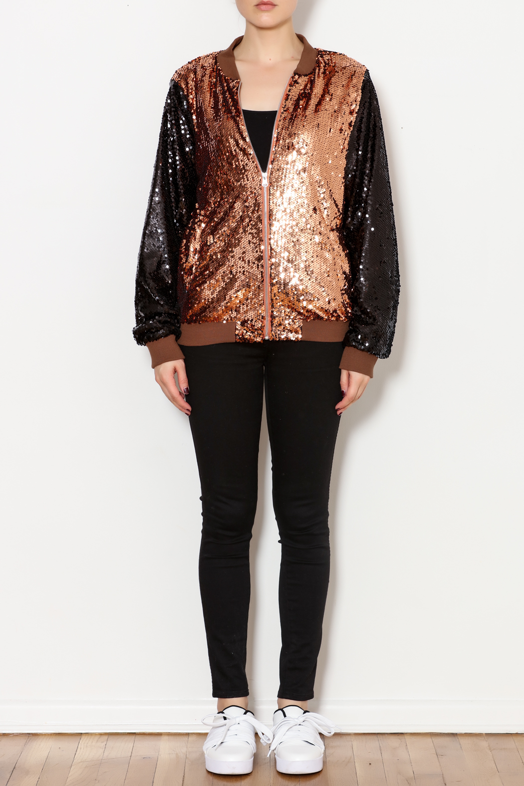 THINK CLOSET Sequined Stunner Jacket - Front Full Image