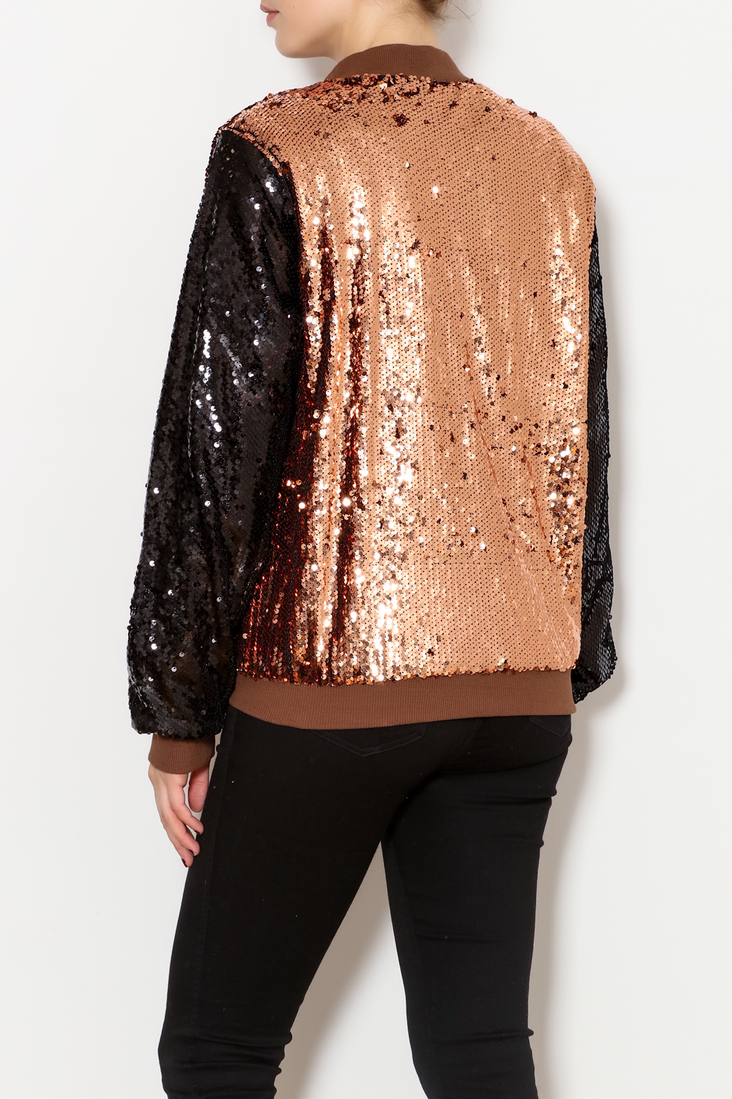 THINK CLOSET Sequined Stunner Jacket - Back Cropped Image