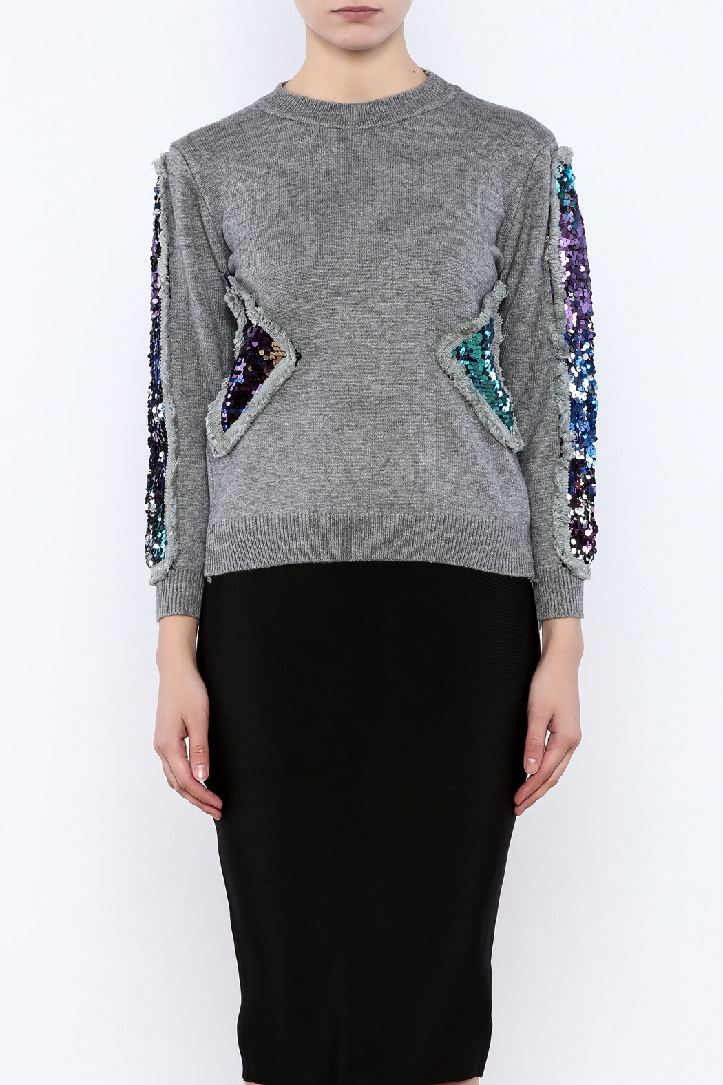 THINK CLOSET Triangle Shapes Sweater - Side Cropped Image