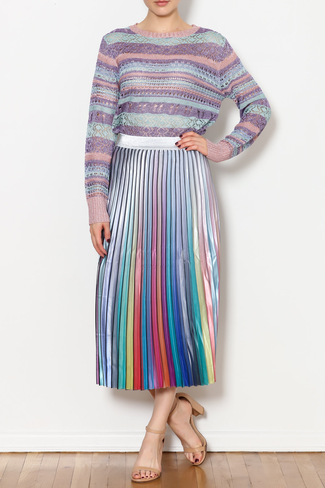 THINK CLOSET Sparkle and Stripes Top - Side Cropped Image