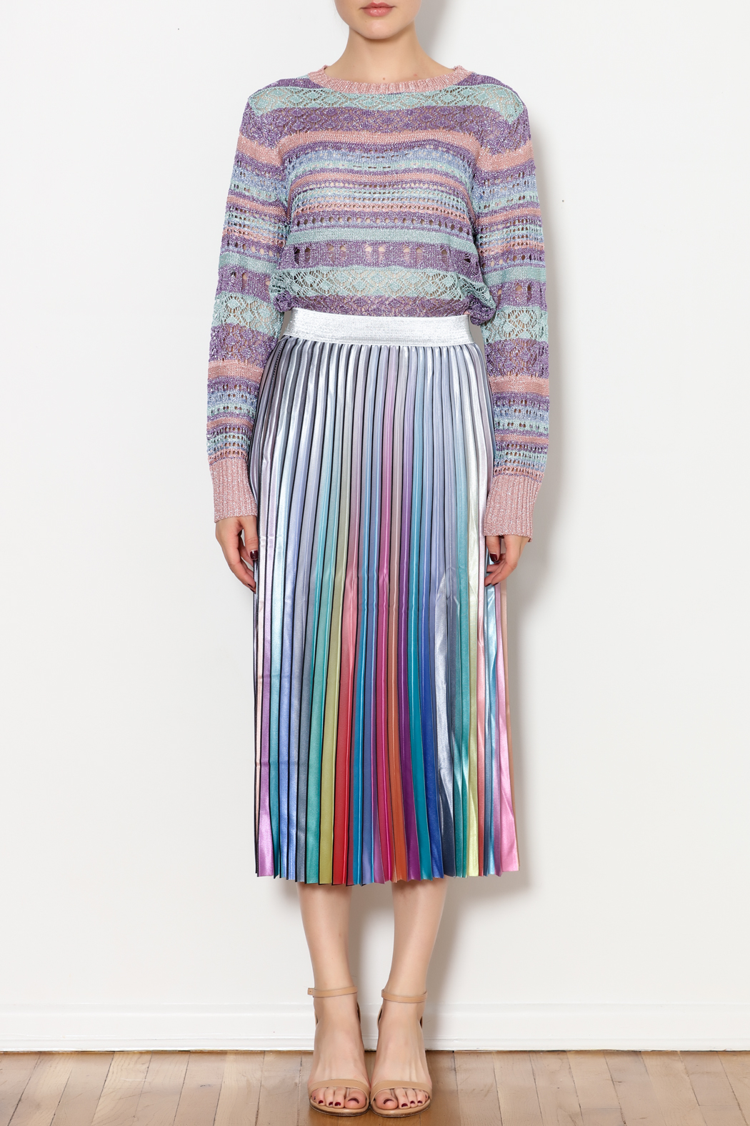 THINK CLOSET Sparkle and Stripes Top - Front Full Image
