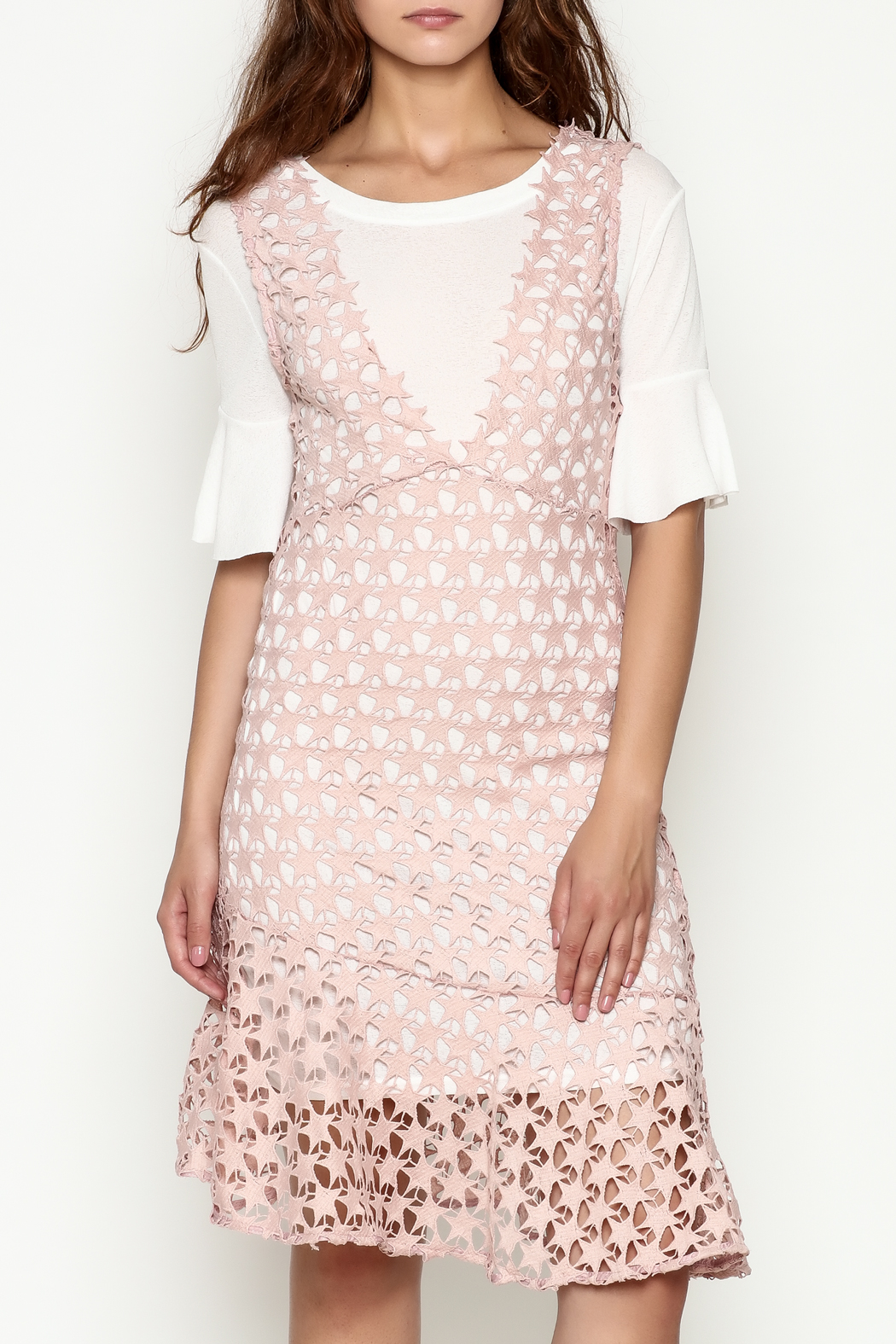 THINK CLOSET Star Lace Dress - Front Cropped Image