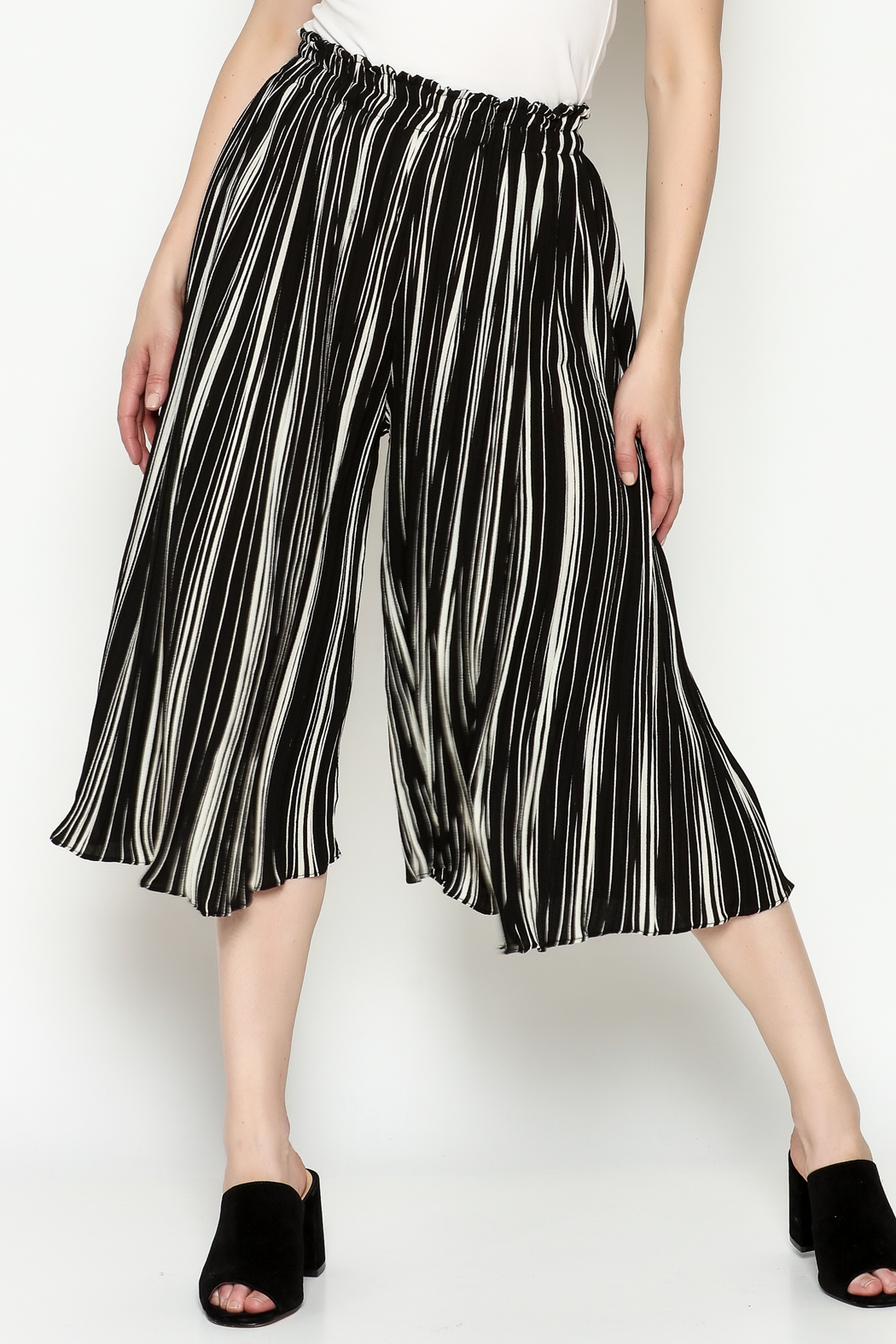 THINK CLOSET Stripe Gaucho Pants - Front Cropped Image