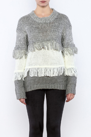 THINK CLOSET Striped Fringe Sweater - Side cropped