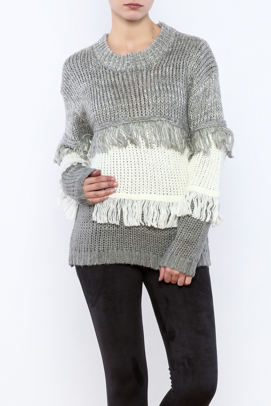 THINK CLOSET Striped Fringe Sweater - Front Cropped Image