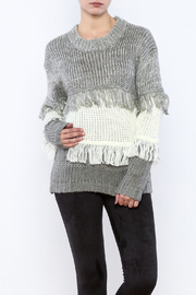 THINK CLOSET Striped Fringe Sweater - Product Mini Image
