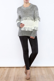 THINK CLOSET Striped Fringe Sweater - Front full body
