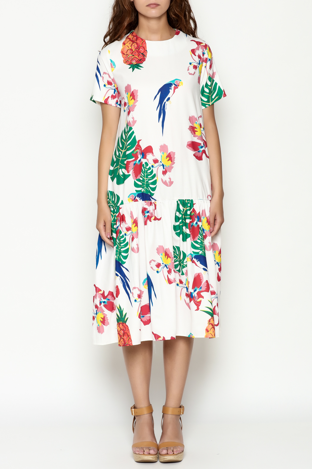 THINK CLOSET Tropical Parrot Dress - Front Full Image