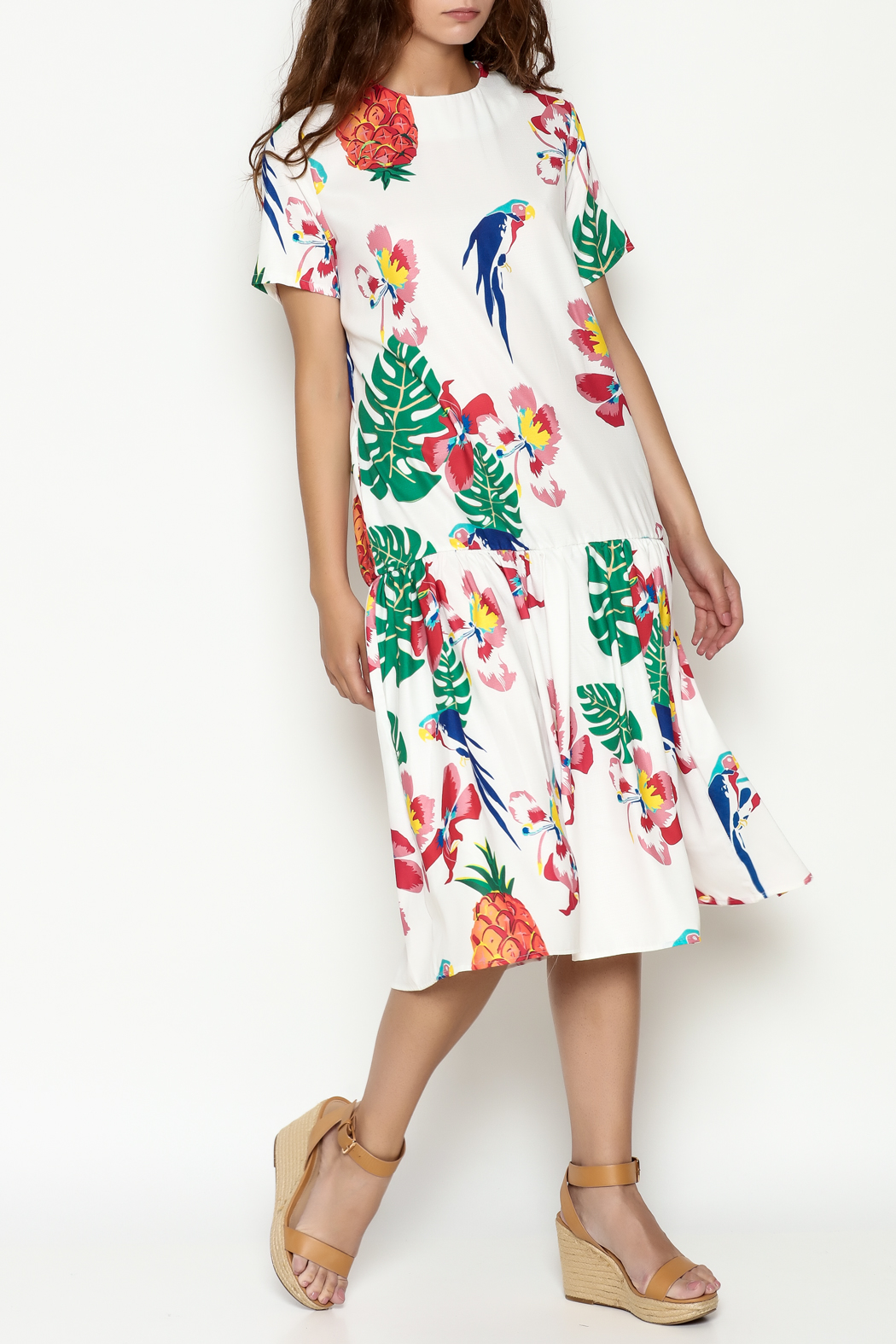 THINK CLOSET Tropical Parrot Dress - Front Cropped Image