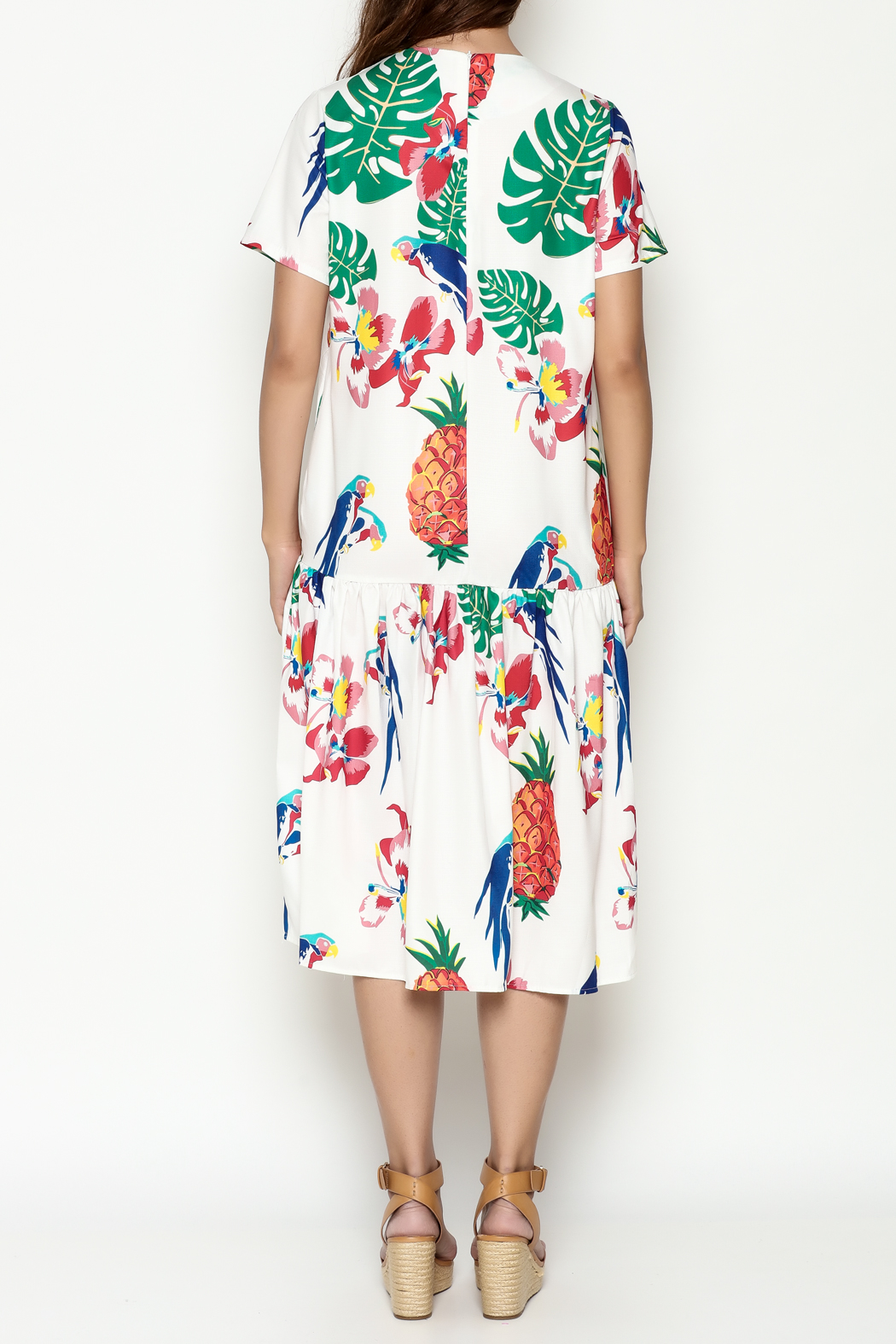 THINK CLOSET Tropical Parrot Dress - Back Cropped Image