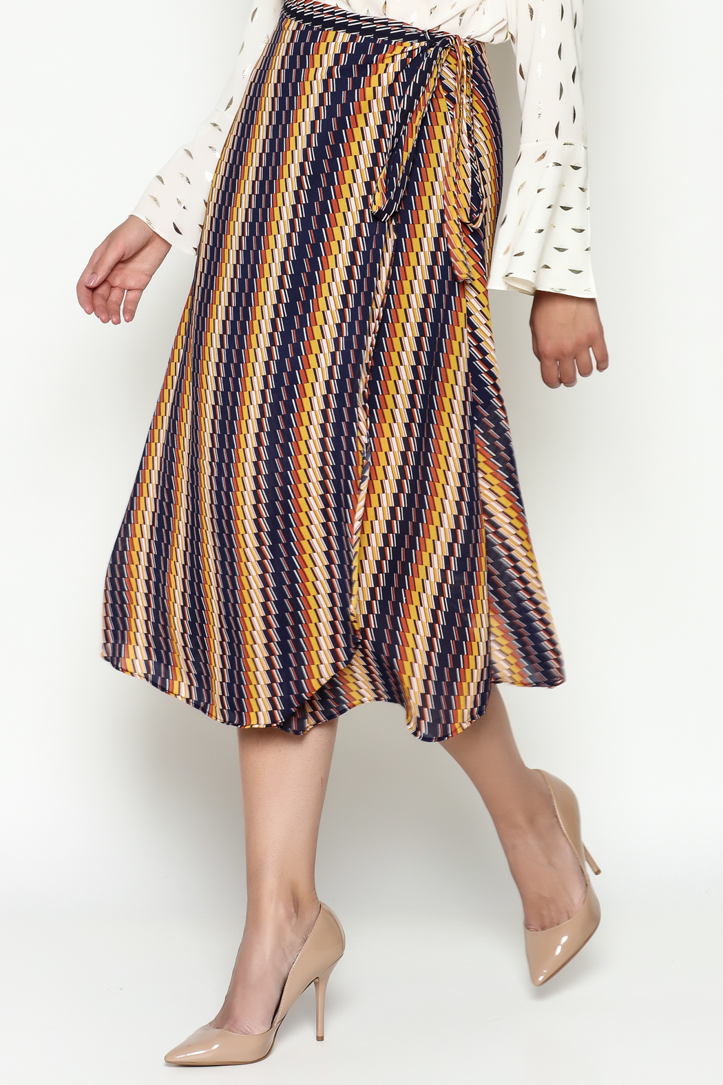 THINK CLOSET Wrap Skirt - Front Cropped Image