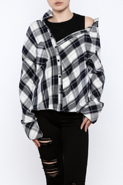 THINK CLOSET Off Shoulder Plaid Top - Product Mini Image